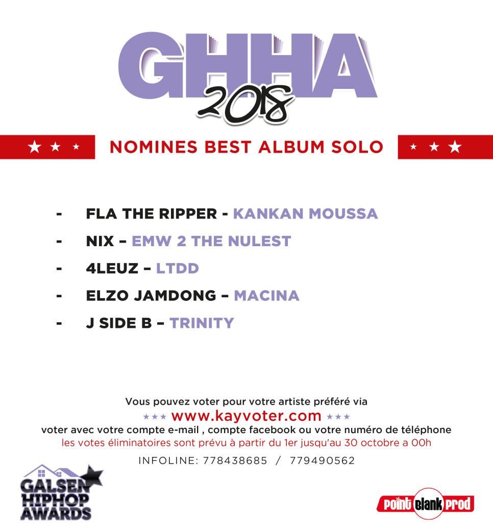 Liste Final Nominés GHHA 2018